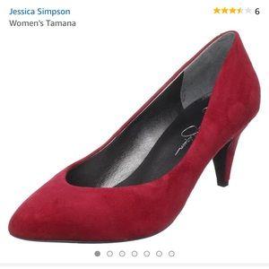 Red suede kitten heels